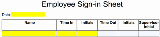 Employee Sign In Sheets New Employee Sign In Sheet Template
