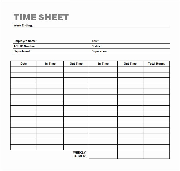 Employee Sign In Sheets Unique Sample Time Sheet 23 Example format