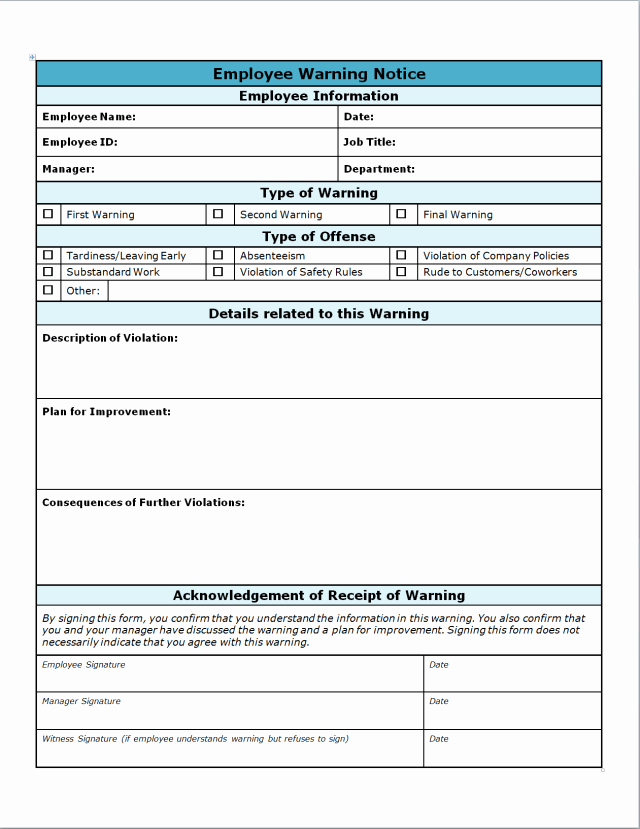 Employee Write Up Templates Lovely 40 Employee Write Up form Templates [word Excel Pdf]