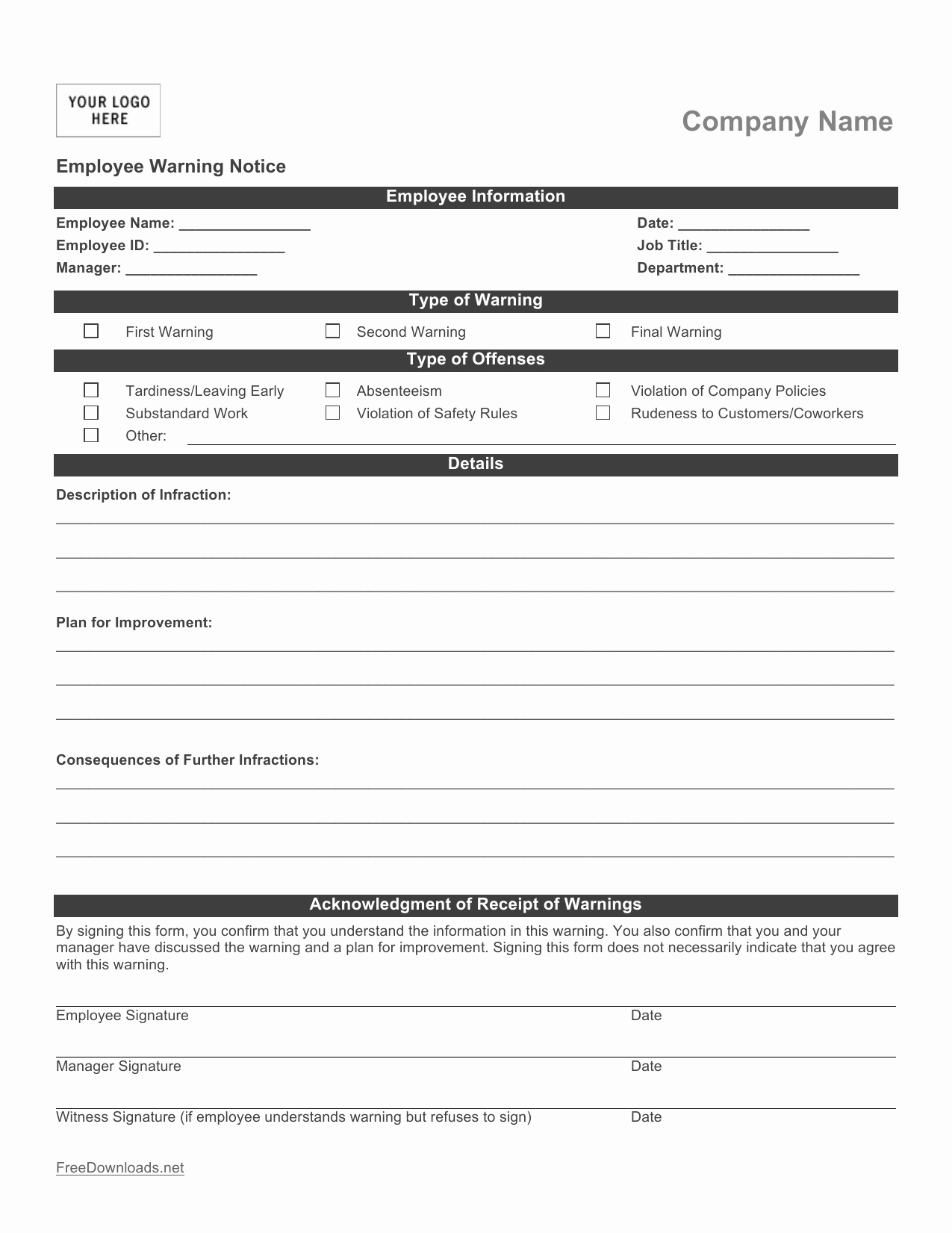 Employee Write Up Templates Luxury Download Employee Write Up form Pdf Rtf
