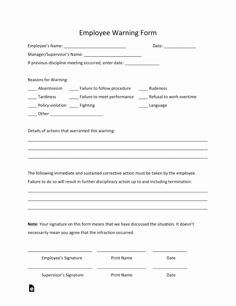 Employee Write Up Templates Luxury Free Employee Warning Notice Template Pdf