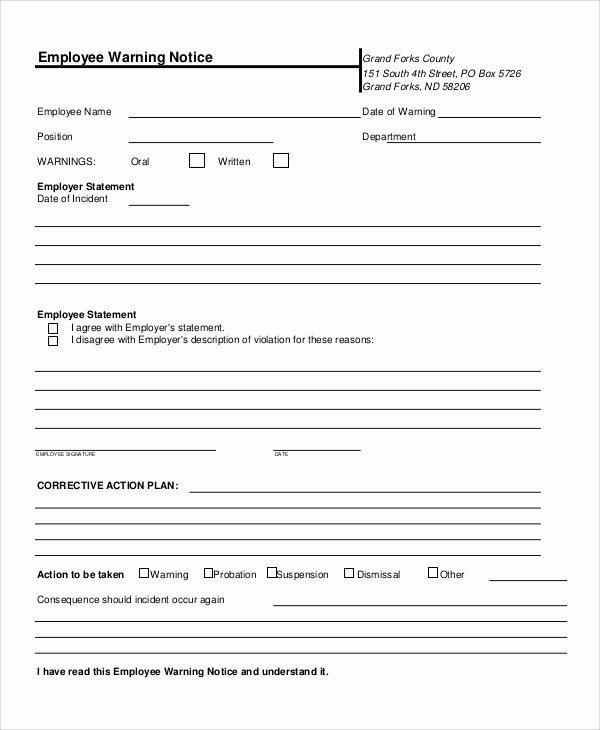 Employee Written Warning Template Free Elegant 10 Employee Warning Notice Samples Google Docs Ms Word