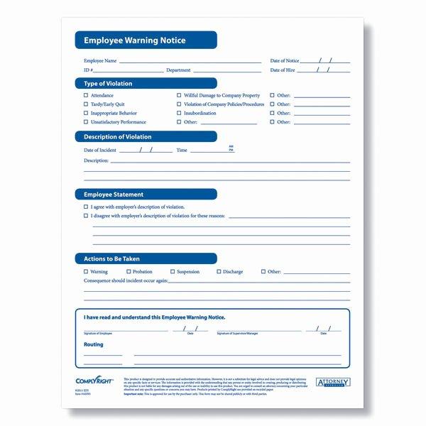 Employee Written Warning Template Free Luxury Employee Warning form