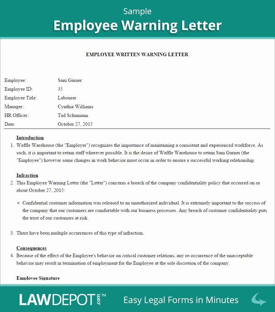 Employee Written Warning Template Free Luxury Employee Warning Letter Template Us