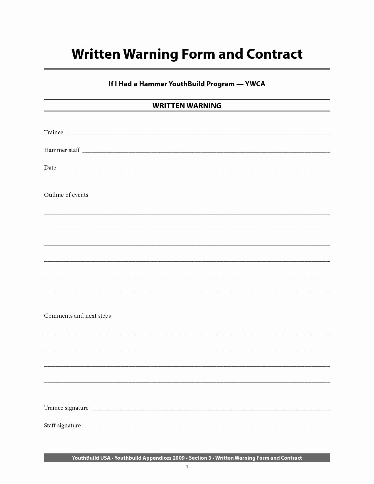 Employee Written Warning Template Free Luxury Written Warning Template