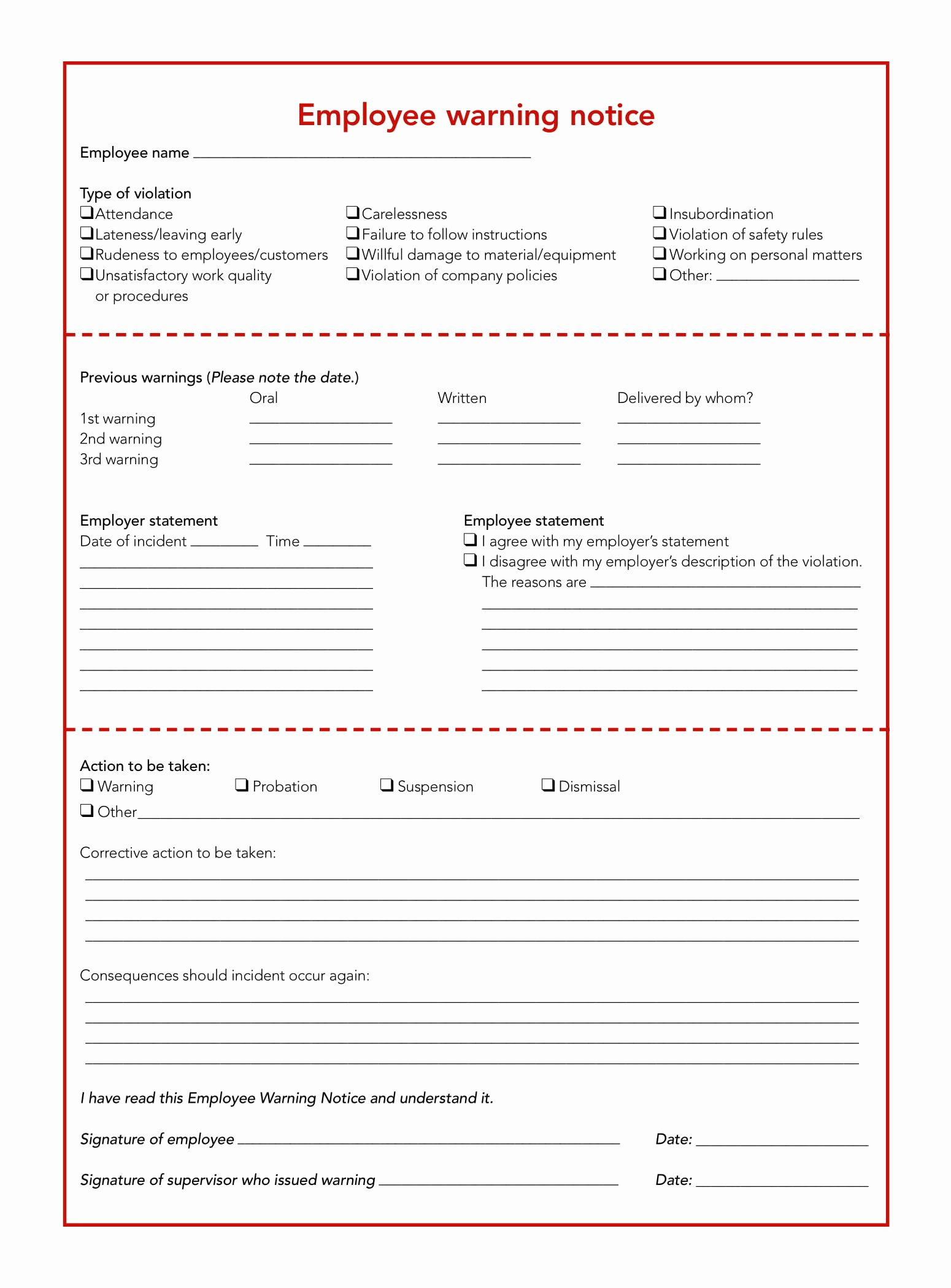 Employee Written Warning Template Free New Free 5 Restaurant Employee Write Up forms