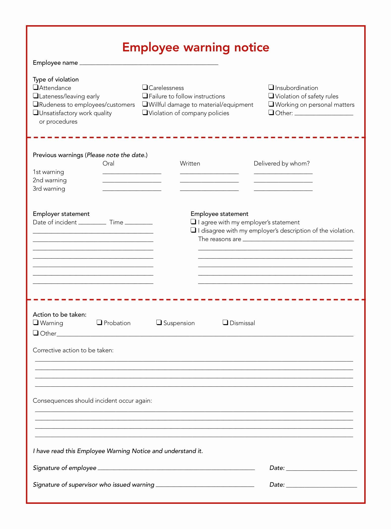 Employee Written Warning Template Free New Free 5 Restaurant Employee Write Up forms