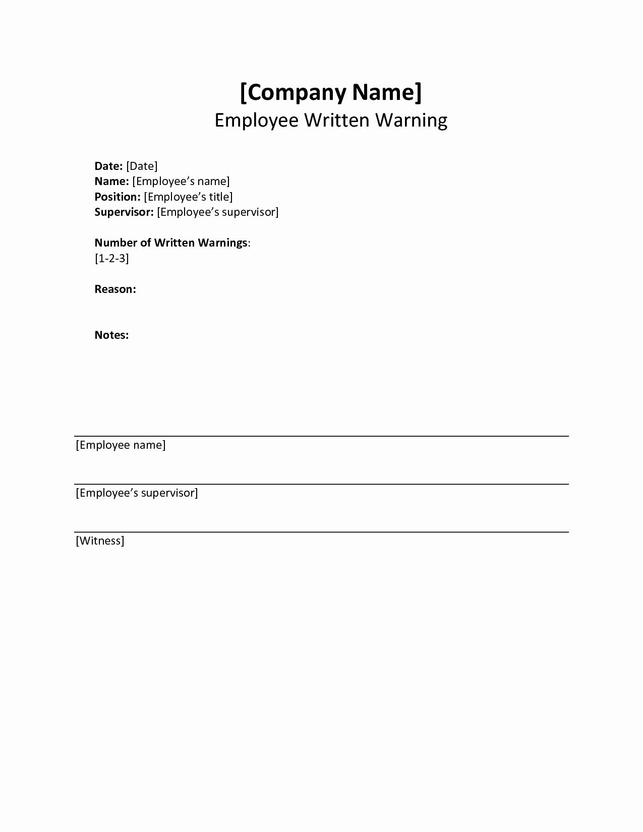 Employee Written Warning Template Free New Written Warning Template