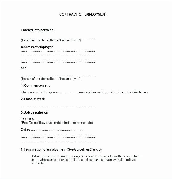 Employment Contract Template Word Best Of Employment Contract Template Word Image – Contract Word