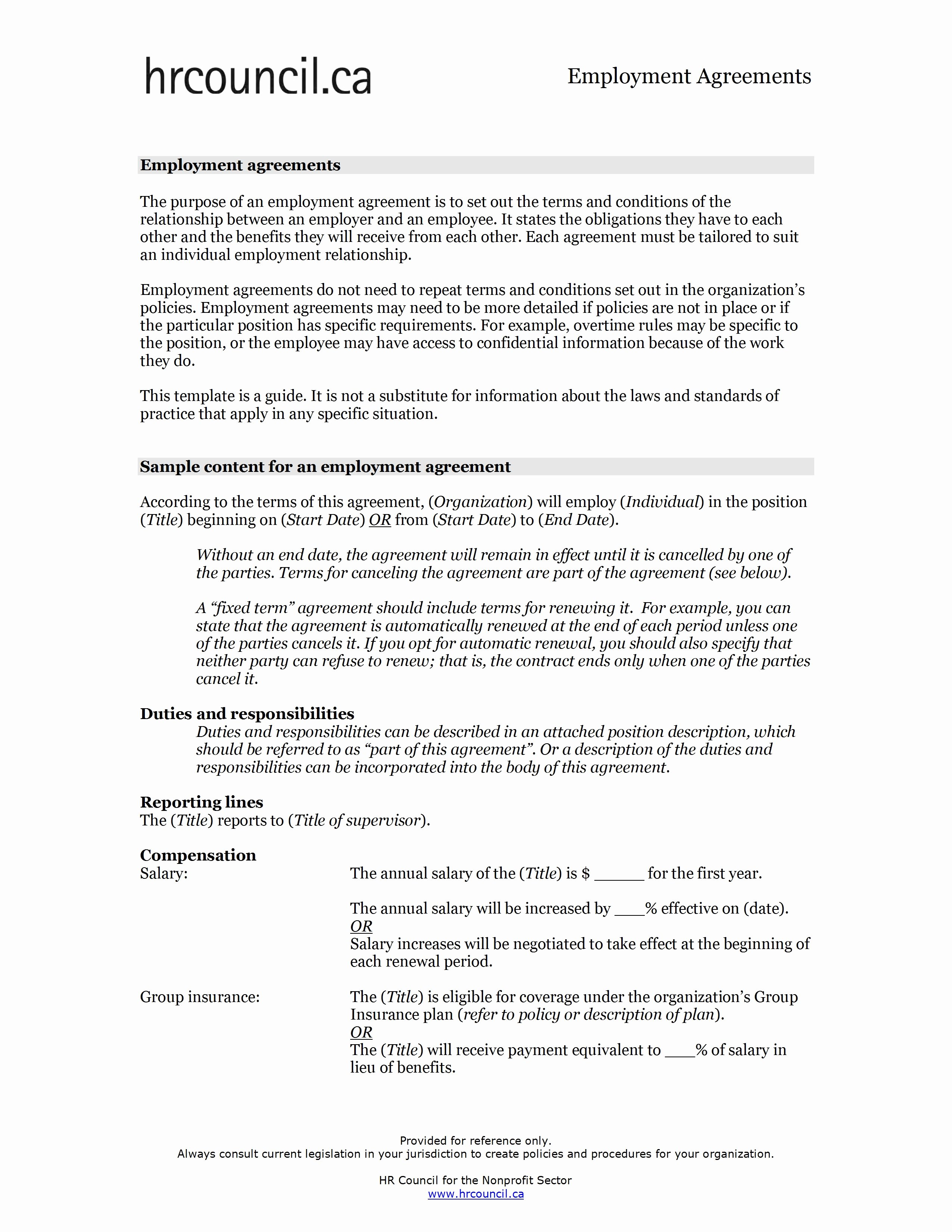 Employment Contract Template Word Fresh Employment Contract Sample