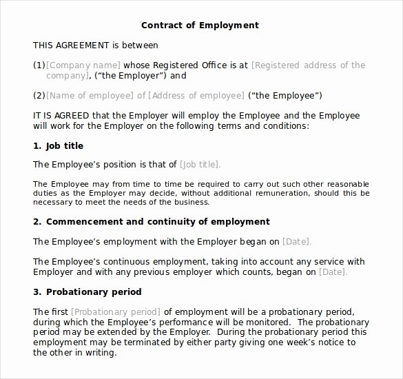 Employment Contract Template Word Inspirational Download Microsoft Fice Templates Employment Contract