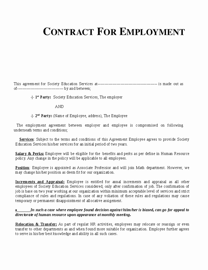 Employment Contract Template Word Inspirational Example Employment Contract Invitation Templates