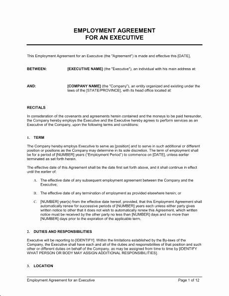 Employment Contract Template Word Inspirational top 5 Free Employment Agreement Templates Word Templates