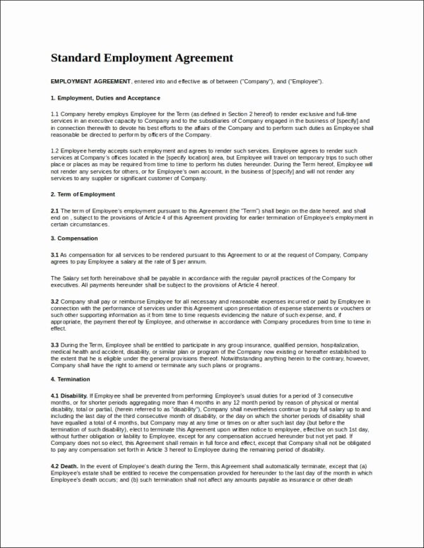 Employment Contract Template Word Luxury 22 Employee Contract Templates Docs Word