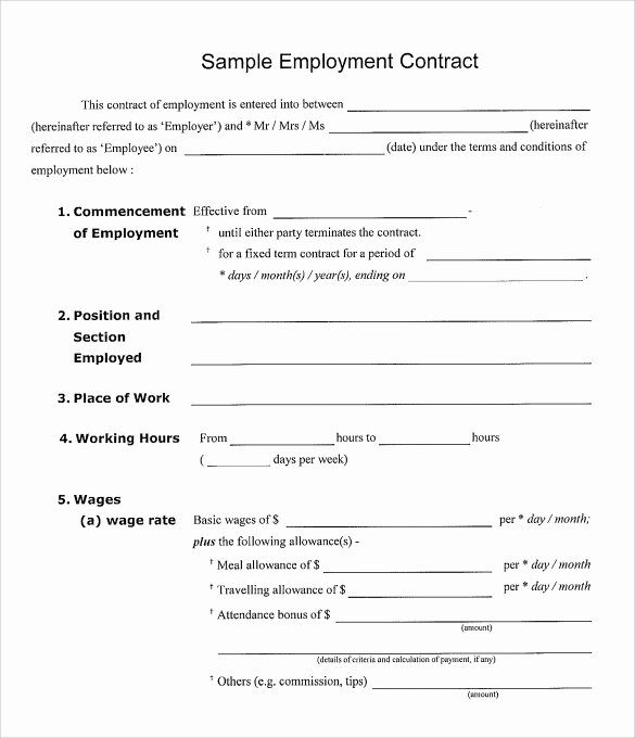 Employment Contract Template Word Luxury 23 Sample Employment Contract Templates Docs Word