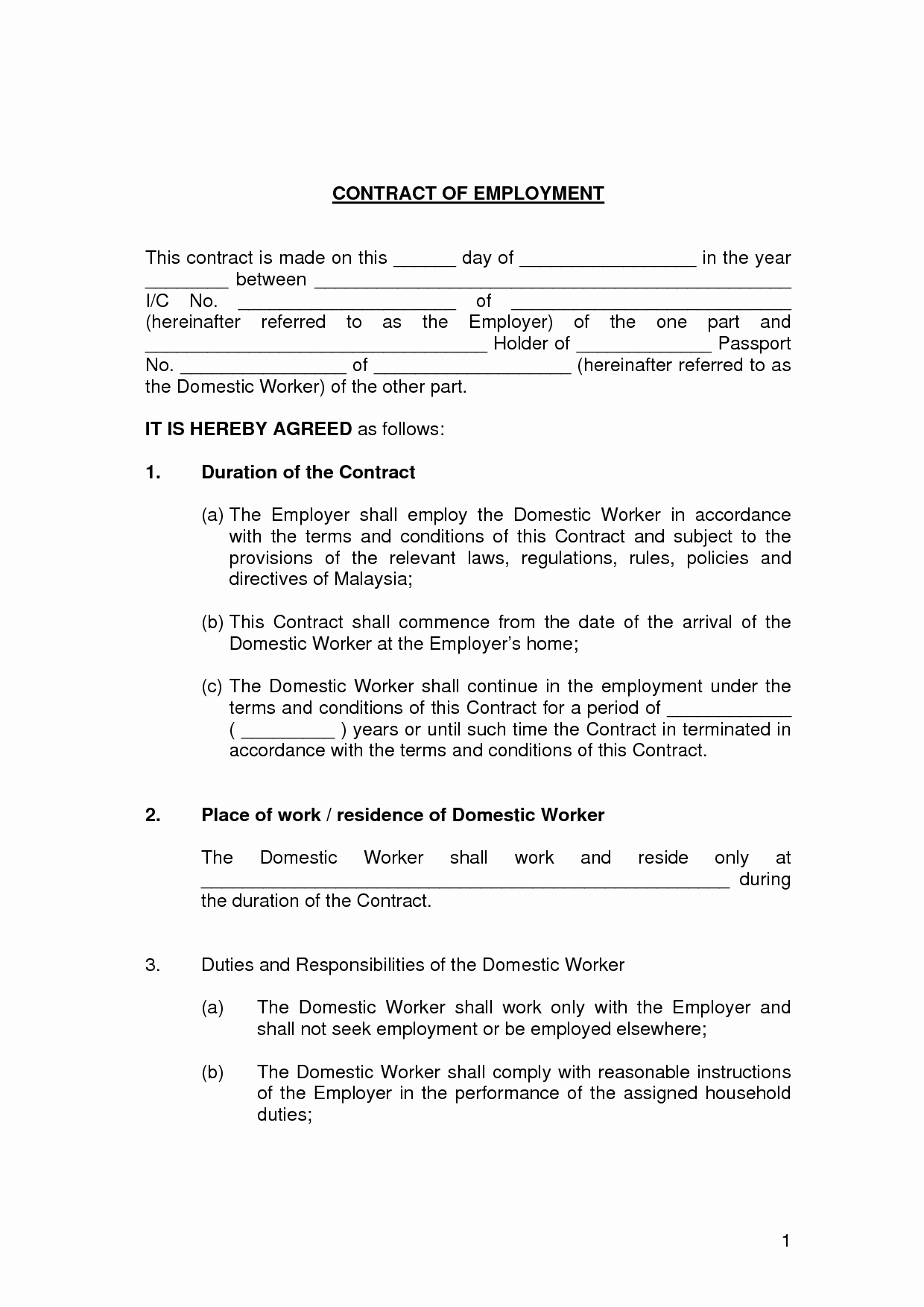 Employment Contract Template Word Luxury Free Printable Employment Contract Sample form Generic
