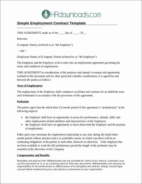 Employment Contract Template Word New 22 Employee Contract Templates Docs Word