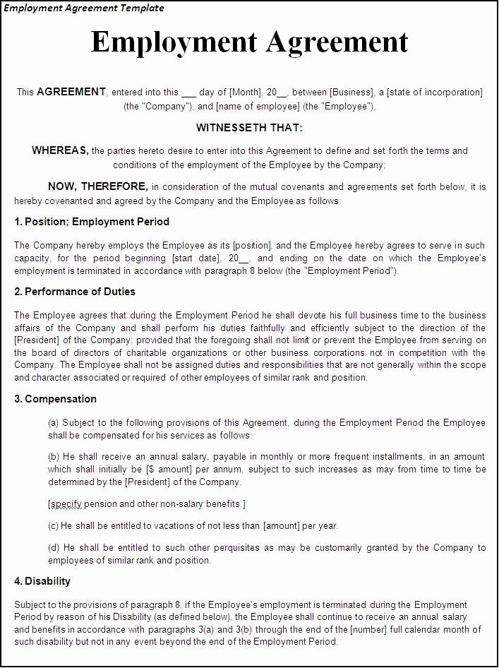 Employment Contract Template Word New Printable Sample Employment Contract Sample form