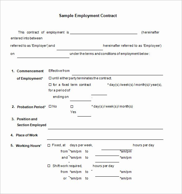Employment Contract Template Word Unique Employment Contract Template Word
