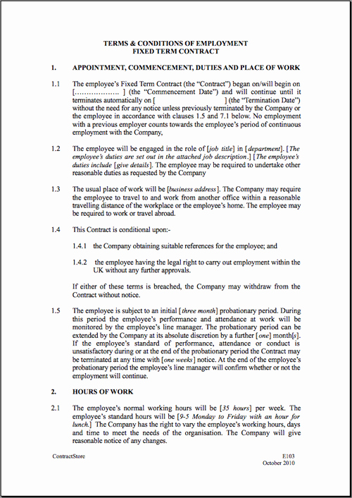 Employment Contract Template Word Unique Fixed Short Term Employment Contract Template