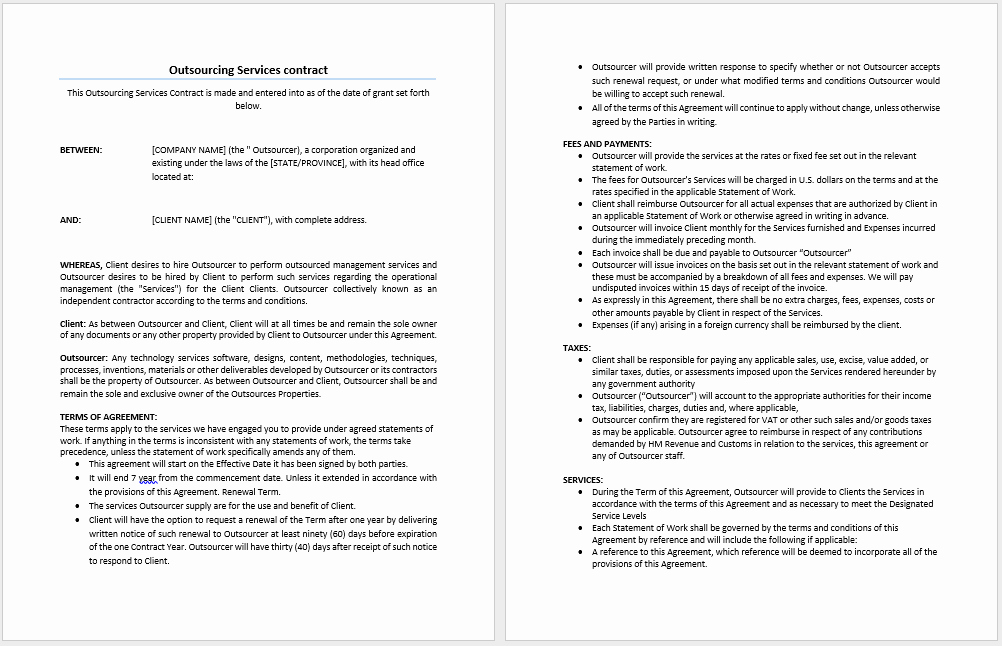 Employment Contract Template Word Unique Outsourcing Services Contract Template Microsoft Word