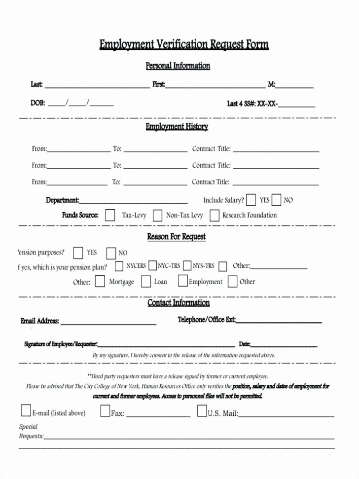 elegant employment verification form template best templates 3