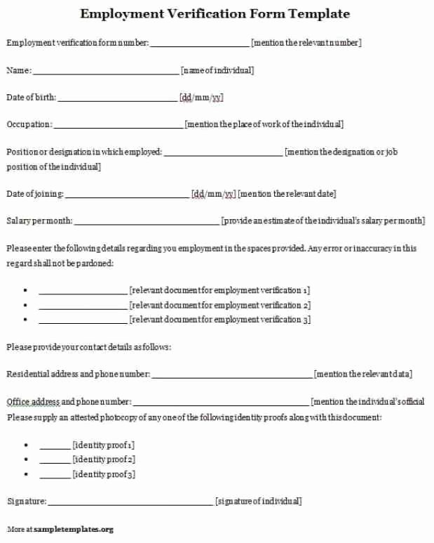 Employment Verification form Template Best Of Bio Data forms Find Word Templates