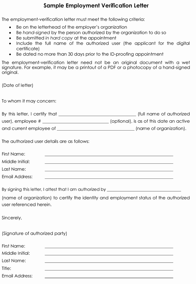Employment Verification form Template Elegant Employment Verification Letter 8 Samples to Choose From