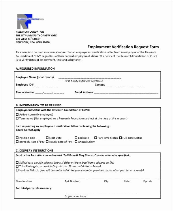 Employment Verification form Template Elegant Free 13 Sample Employment Verification forms