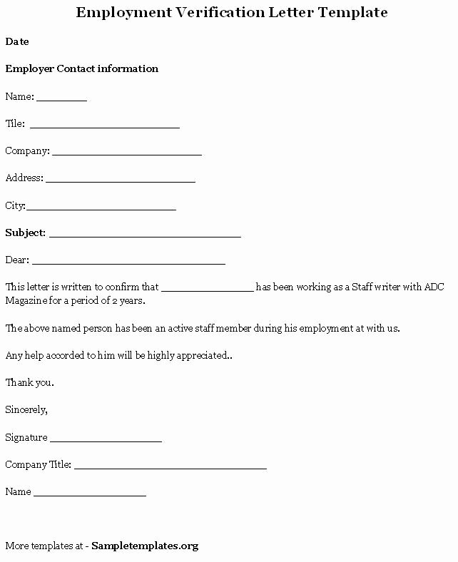 Employment Verification form Template Fresh Printable Sample Letter Employment Verification form