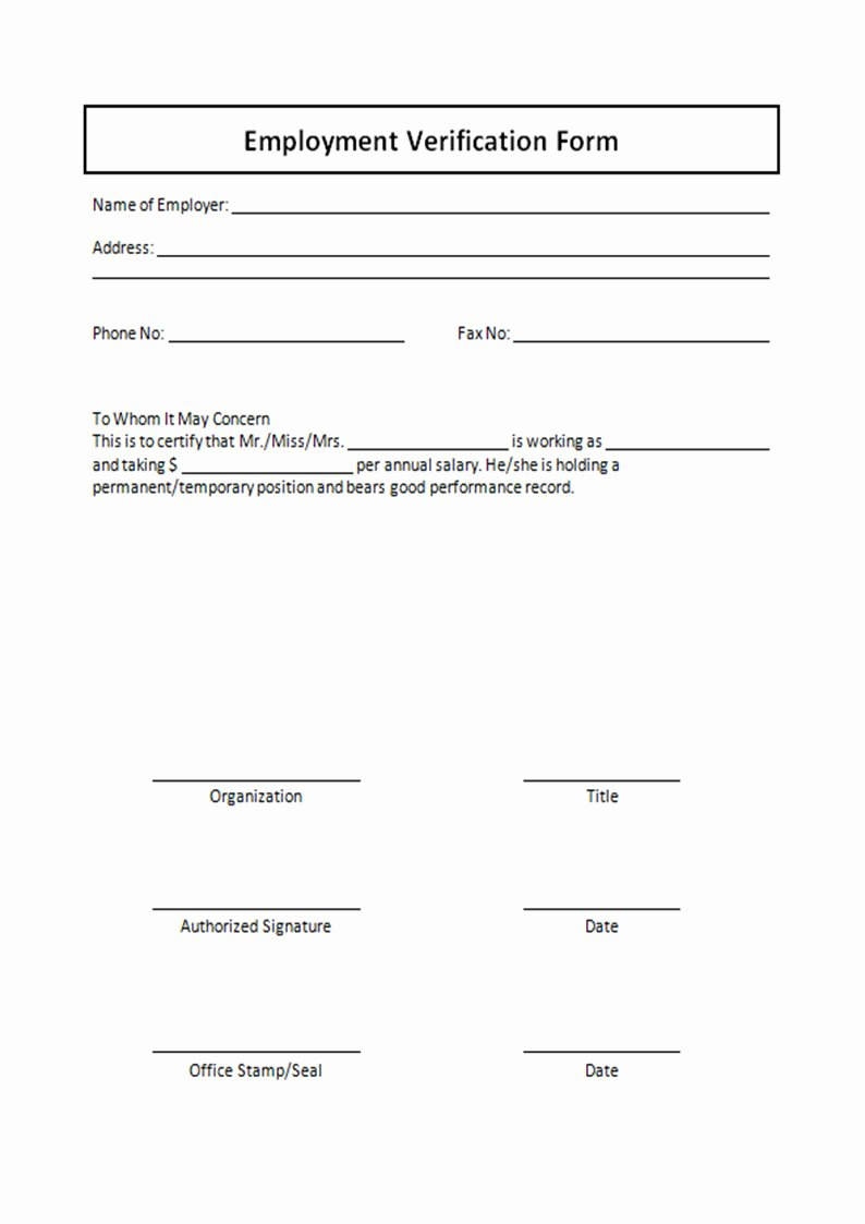Employment Verification form Template Luxury 13 Employment Verification form Sample