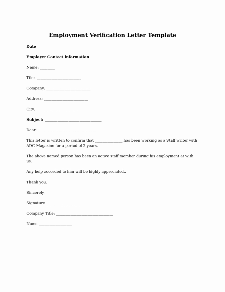 Employment Verification form Template Luxury 2019 Proof Of Employment Letter Fillable Printable Pdf