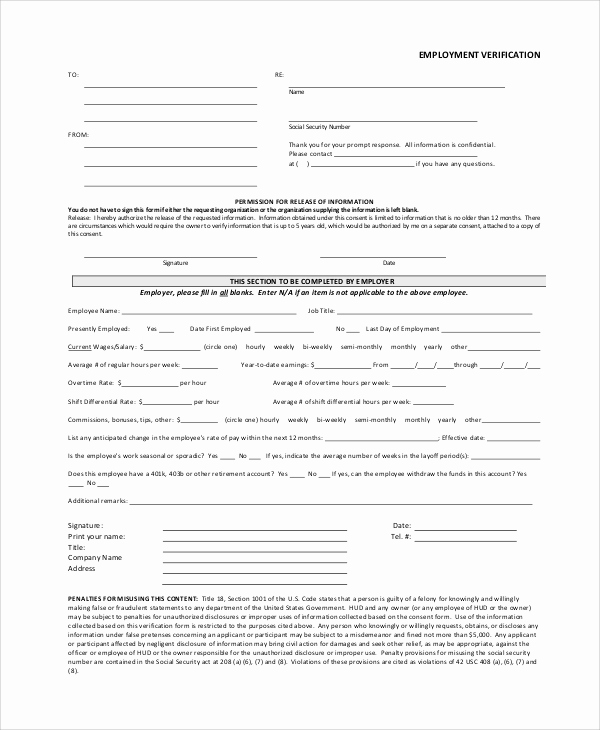 Employment Verification form Template Luxury Verification Employment form Template