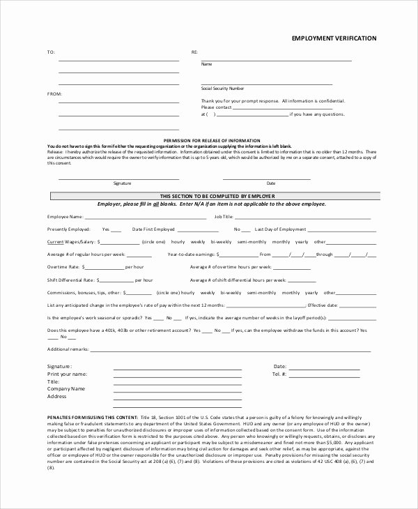 Employment Verification form Template New Employment Verification form