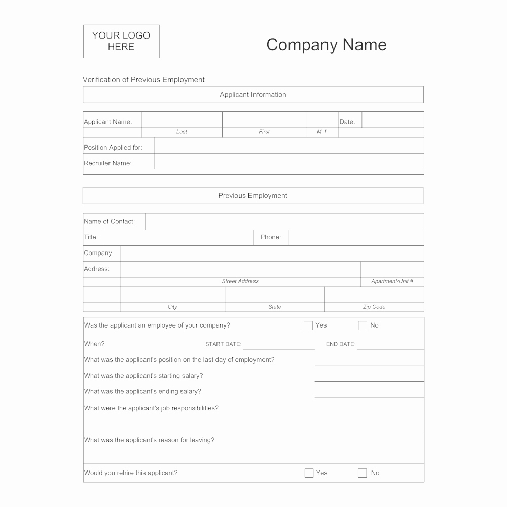 Employment Verification form Template New Verification Of Previous Employment