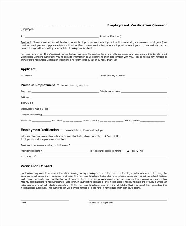 Employment Verification form Template Unique Sample Employment Verification form 6 Documents In Pdf
