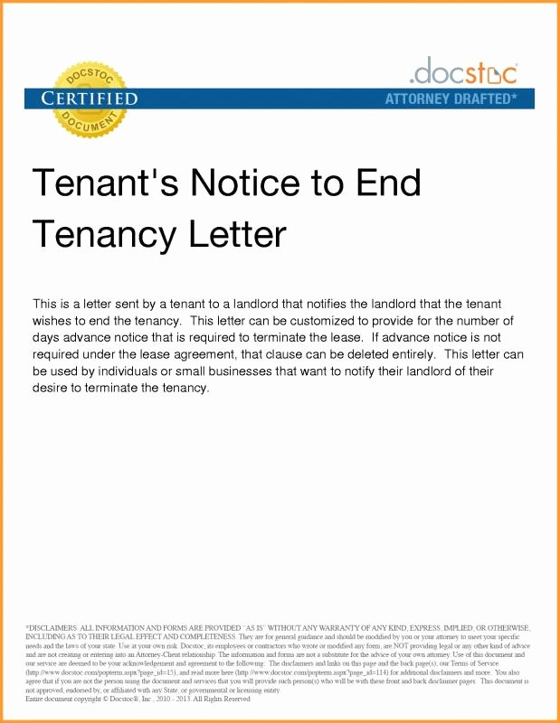 End Of Lease Letter Awesome Notice Lease Termination Letter From Landlord to Tenant
