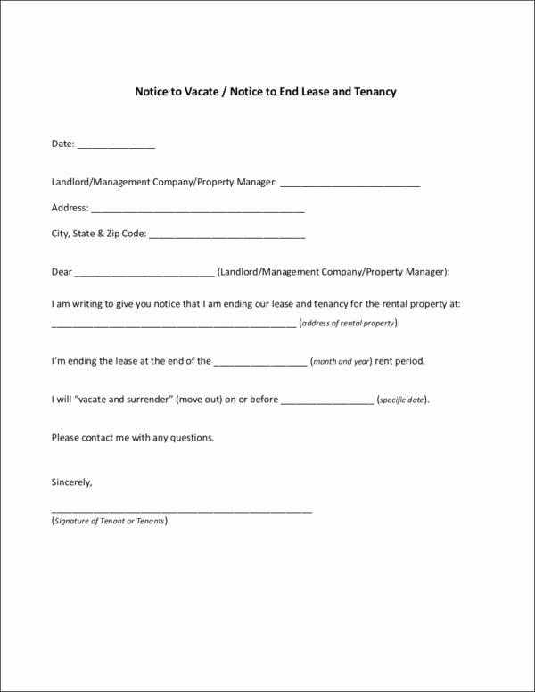 End Of Lease Letter Beautiful Free 10 Tenancy Notice Samples & Templates In Pdf