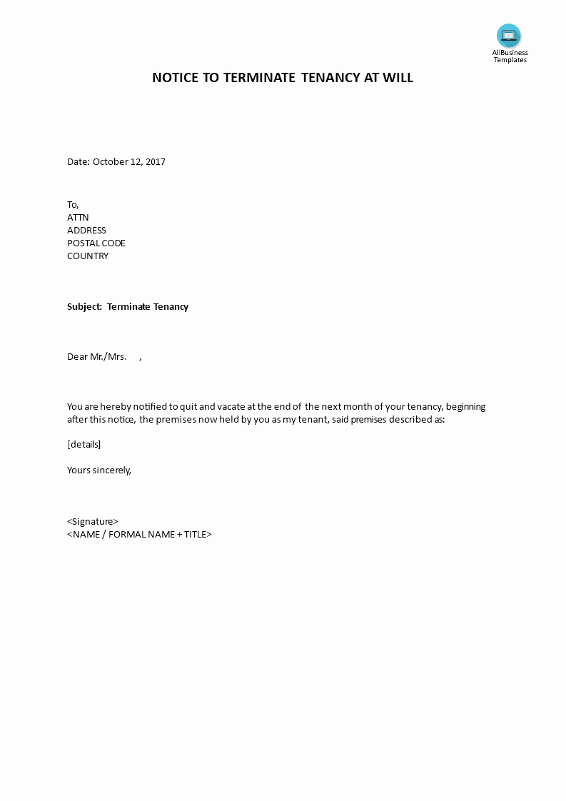 End Of Lease Letter Beautiful Notice to Terminate Tenancy at Will by Landlord