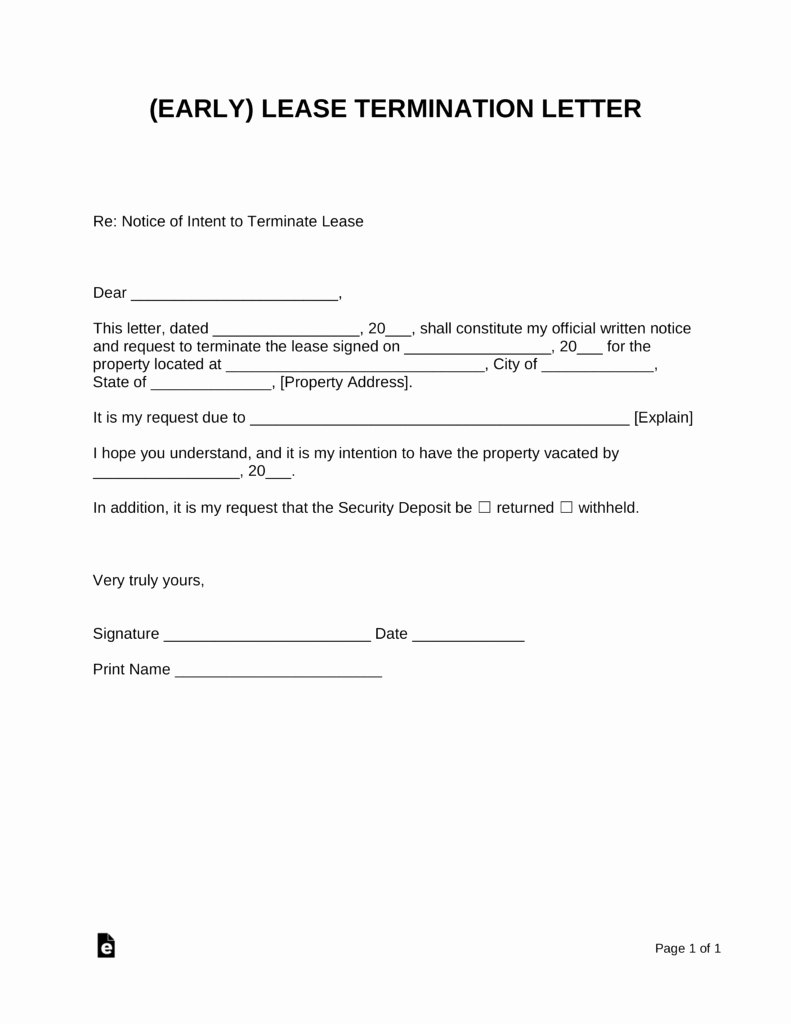 End Of Lease Letter Best Of Early Lease Termination Letter Landlord Tenant