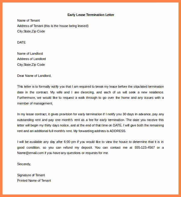 End Of Lease Letter Elegant 7 Landlord Tenant Agreement to Terminate Lease