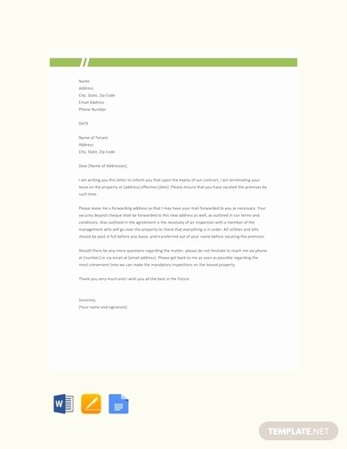 End Of Lease Letter Inspirational 9 End Of Lease Letter to Tenant Examples & Templates