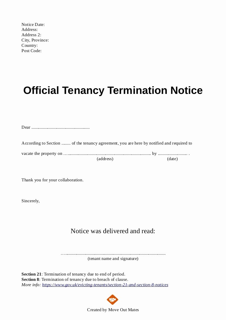 End Of Lease Letter New End Of Tenancy Letter Template From Landlord to Tenant