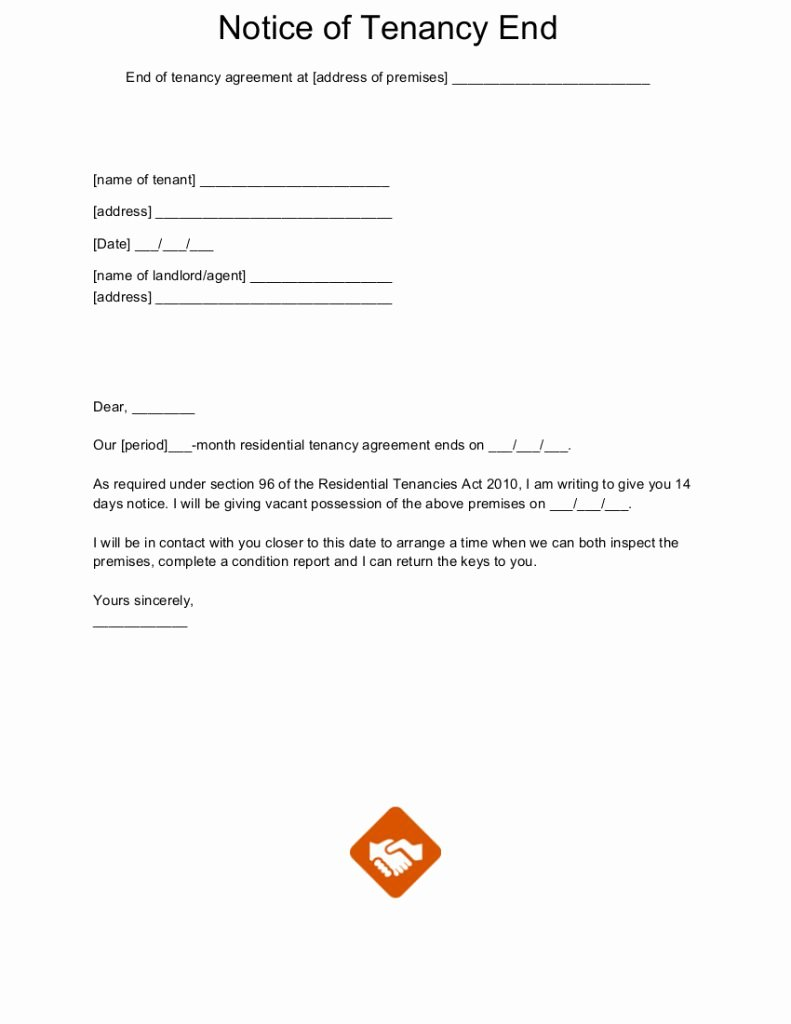 End Of Lease Letter New End Tenancy Letter Templates