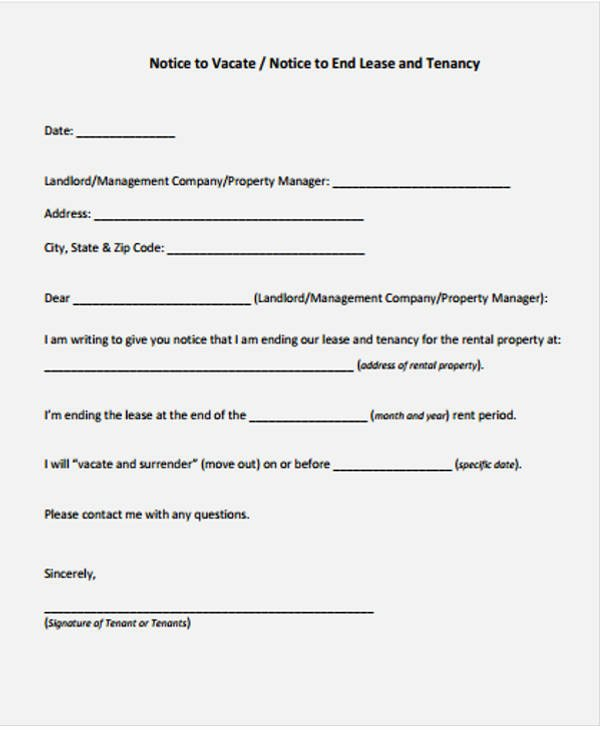 End Of Lease Letter Unique Lease Letter Templates 8 Free Sample Example format