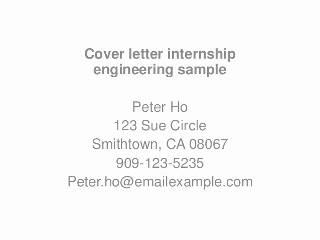 Engineering Internship Cover Letter Luxury Cover Letter Internship Engineering Sample