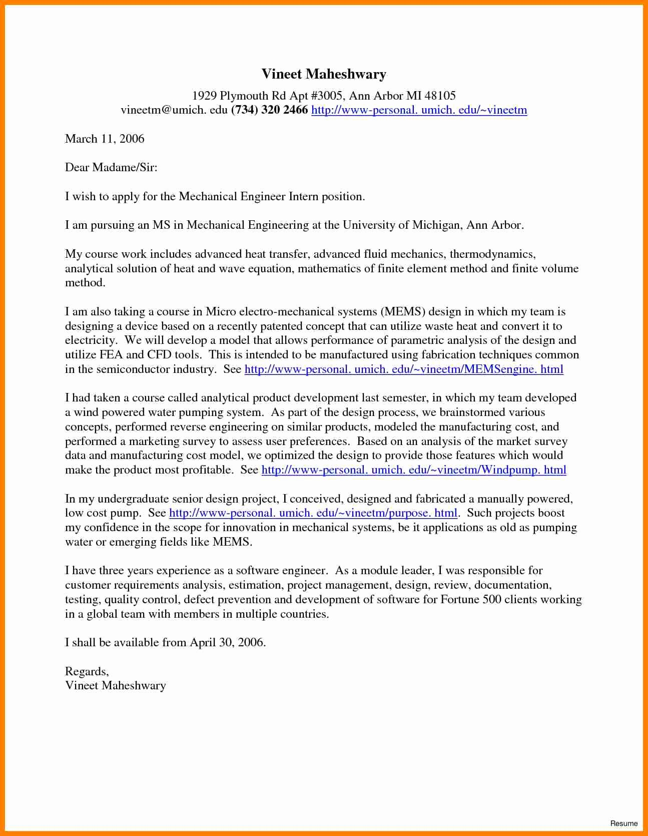 Engineering Internship Cover Letter New 5 Cover Letter Examples for Engineering Internships