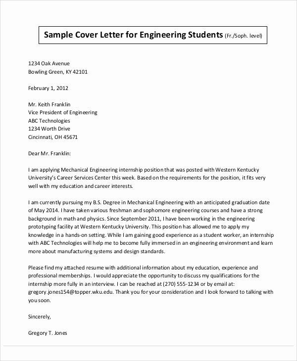 Engineering Internship Cover Letter Unique 32 Job Application Letter Samples