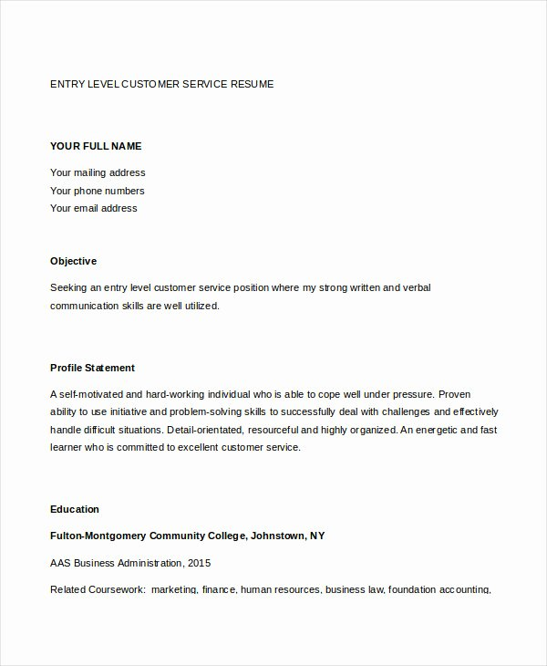 Entry Level Customer Service Resume Beautiful 11 Customer Service Resume Templates Pdf Doc