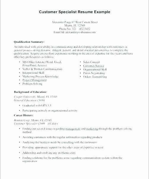 Entry Level Customer Service Resume Beautiful Entry Level Customer Service Resume Summary